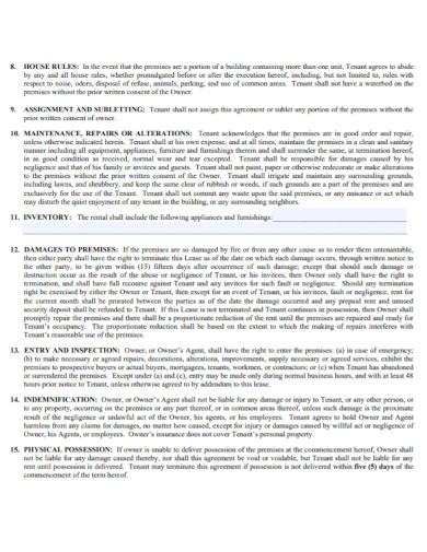 residential lease rental agreement