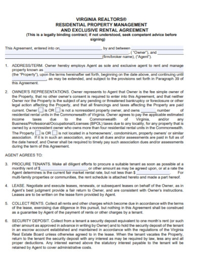 residential property management rental agreement