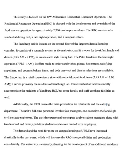 residential restaurant incident report