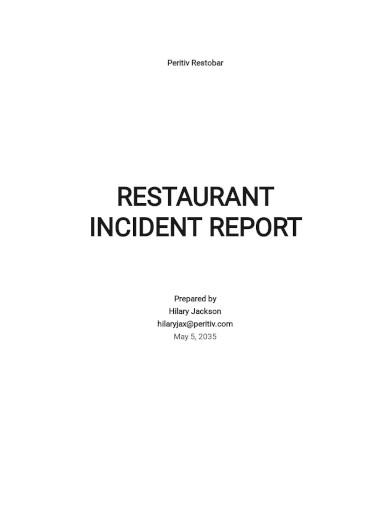 restaurant incident report template