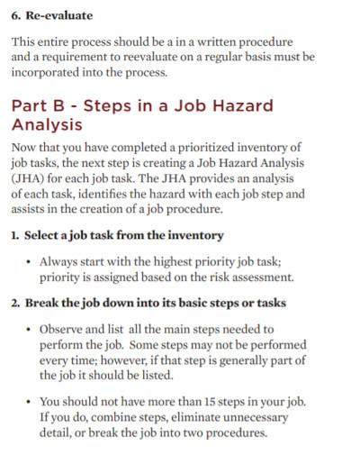 risk assessment job hazard analysis