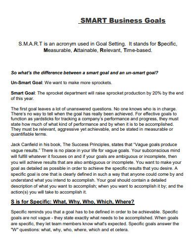 smart business goals template