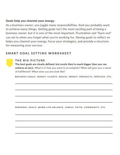 smart business goals worksheet