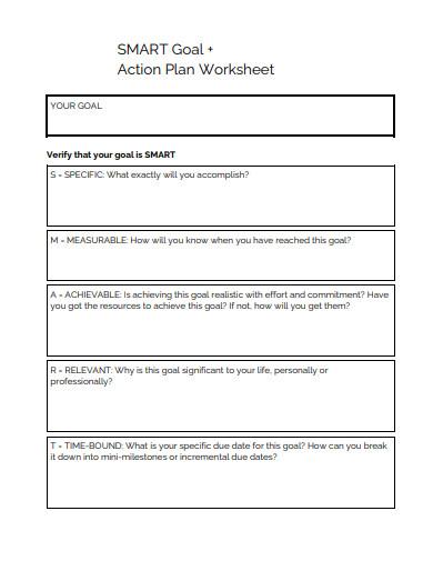 smart goal action plan worksheet