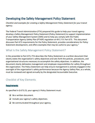 safety management policy statement