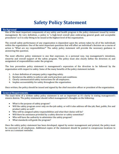 safety policy statement example