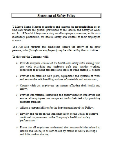 safety policy statement in doc