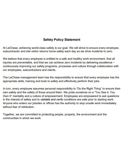 safety policy statement in pdf