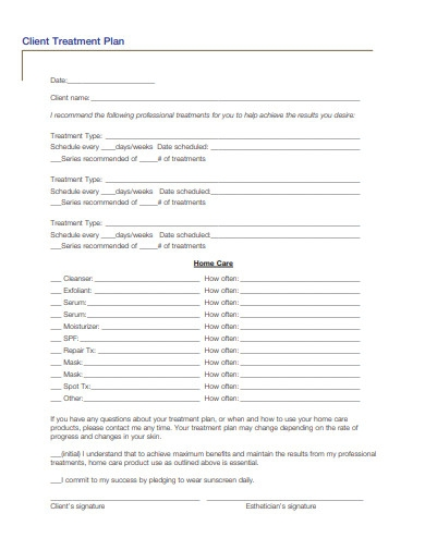 sample client treatment plan