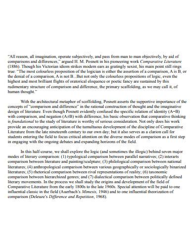 sample comparative literature essay