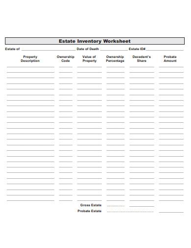 sample estate inventory worksheet