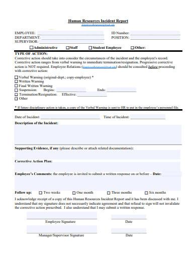 sample hr incident report