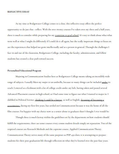 sample high school reflective essay