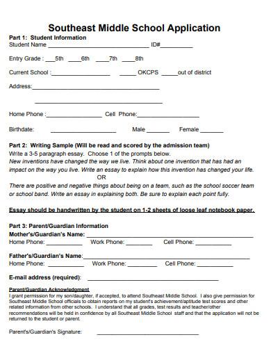 sample middle school application essay