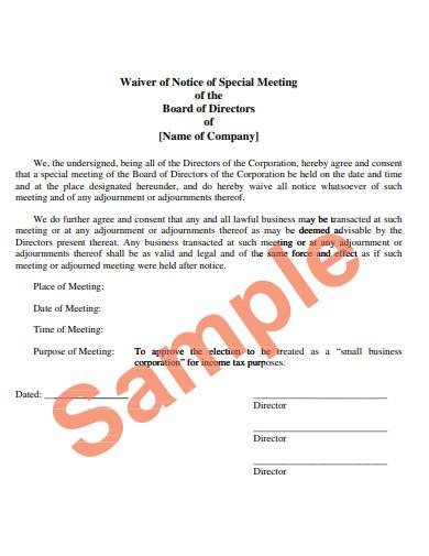 sample notice of board meeting