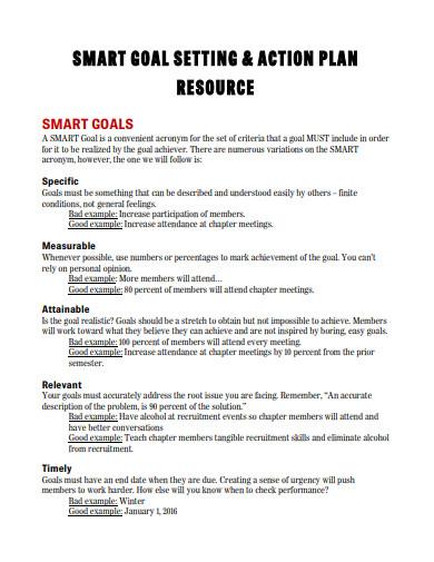 sample smart goal action plan