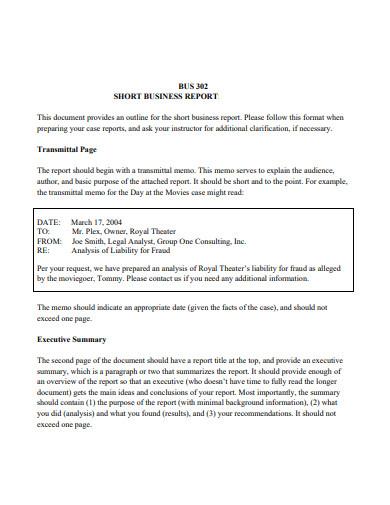 sample short business report