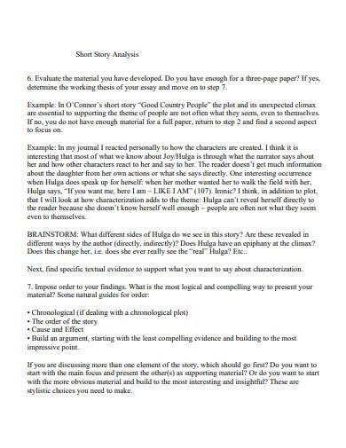 sample short story analysis essay