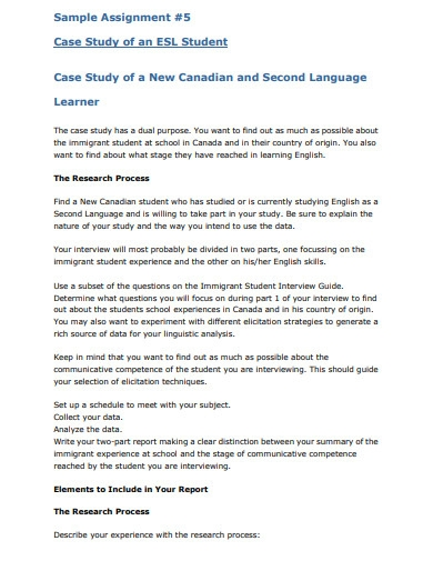 sample student assignment case study