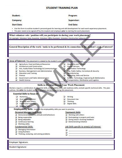 sample student training plan