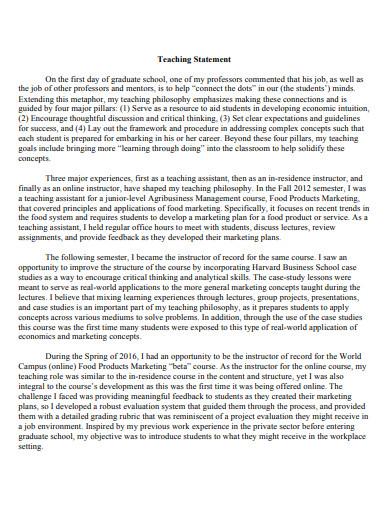 sample teaching statement online