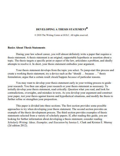 sample thesis problem statement