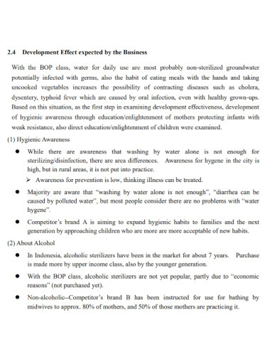 sanitary business feasibility report