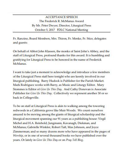 scholarship acceptance speech example