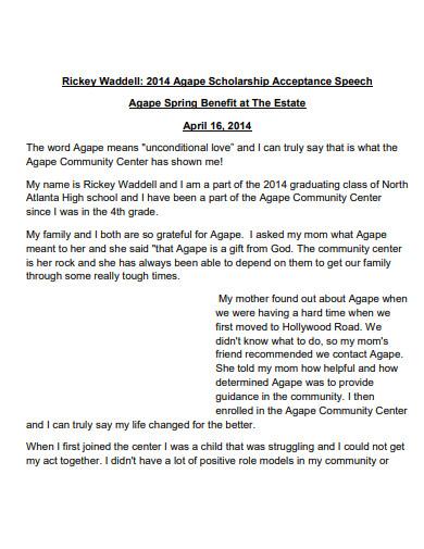 scholarship acceptance speech template