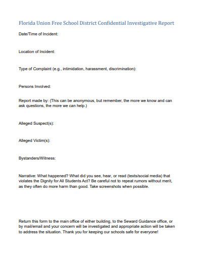 school district confidential investigative report