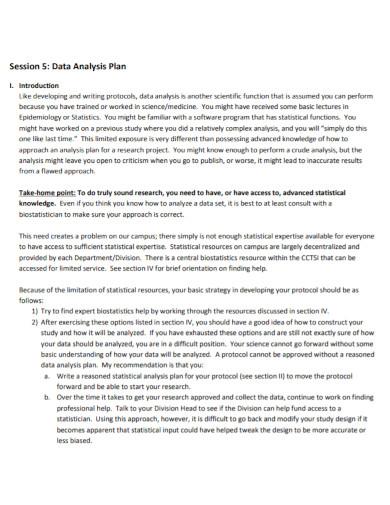 scientific data analysis plan