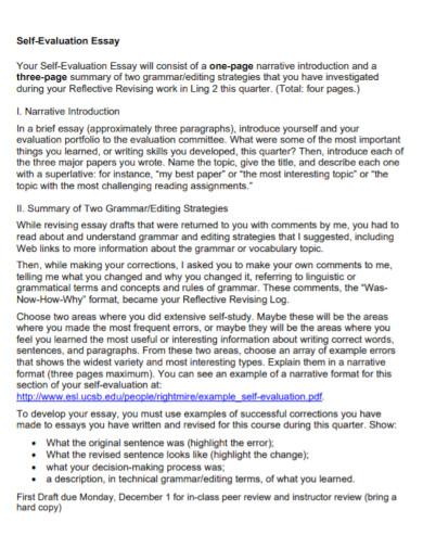 self evaluation essay template