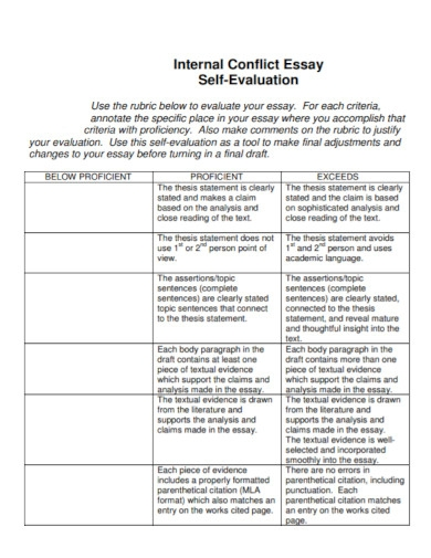 self evaluation internal conflict essay