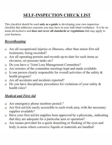 self inspection checklist template1