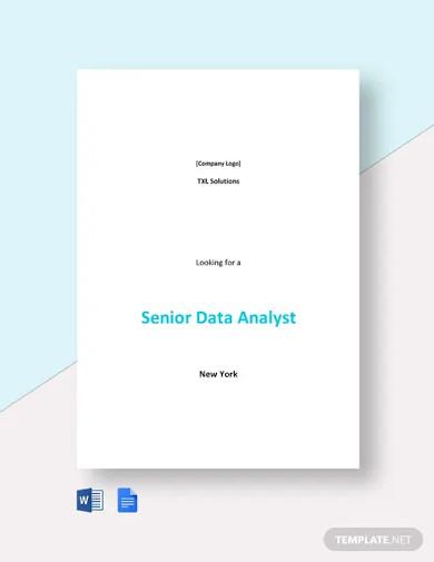 senior data analyst job description template