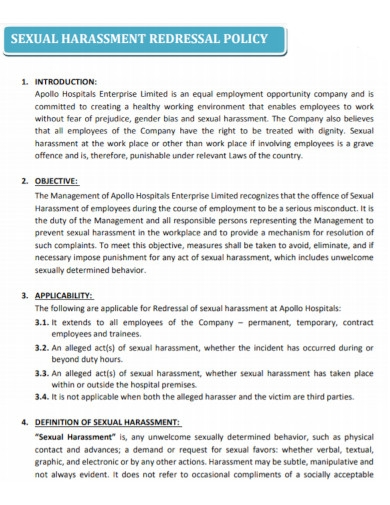 sexual harassment redressal policy