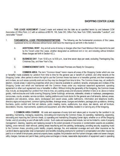 shop rent lease agreement