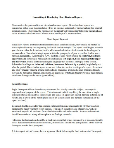 short business report example