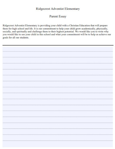 short elementary parent essay