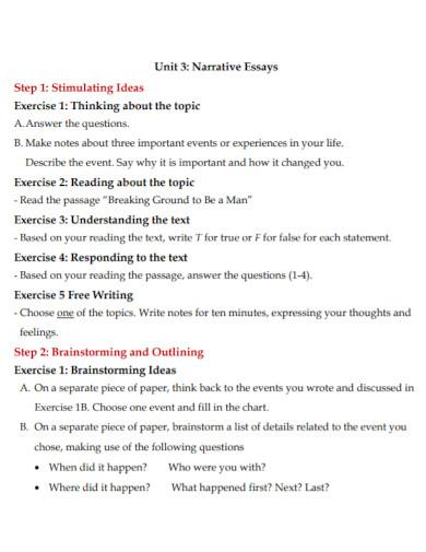 short narrative essay format