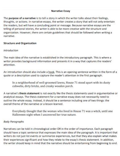 short narrative essay template