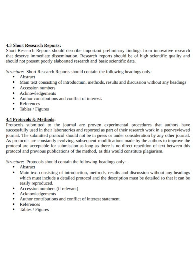 short research report template