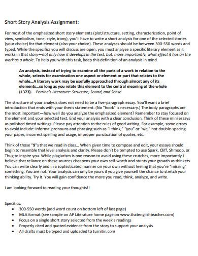 short story analysis essay example
