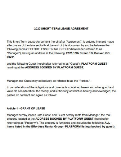 short term lease agreement in pdf