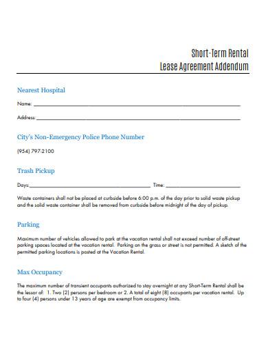 short term rental lease agreement
