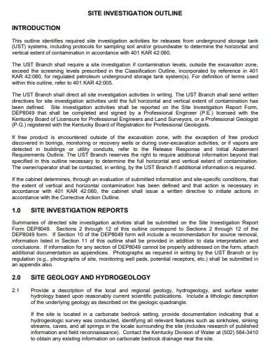 site investigation report outline