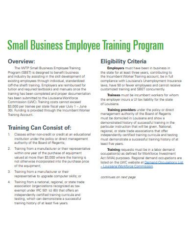 small business employee training program