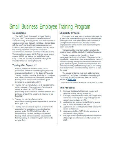 small business employees training program