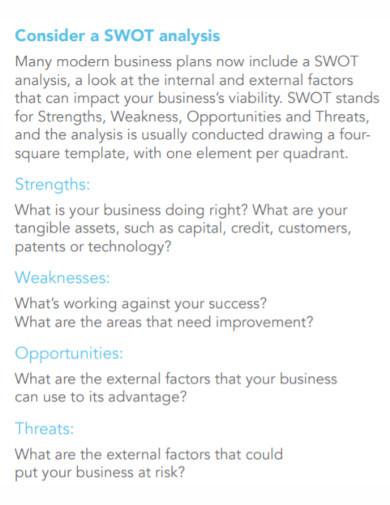 small business swot analysis plan