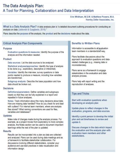 standard data analysis plan